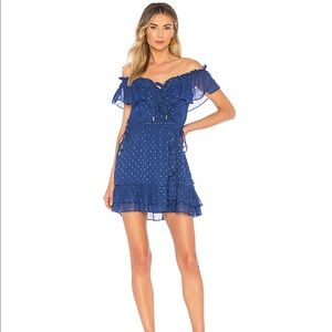 House of Harlow x Revolve blue and gold dress